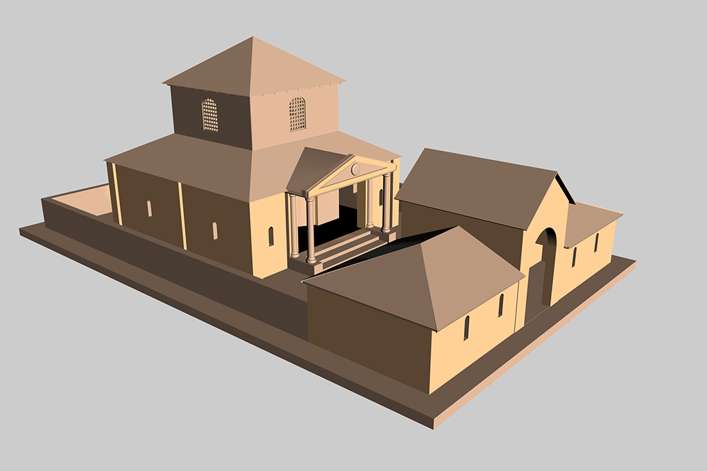 Romano British Temple. Work in progress. Un-textured conjectural 3D reconstruction of the Romano British Temple at Venta Silurum (Caerwent).