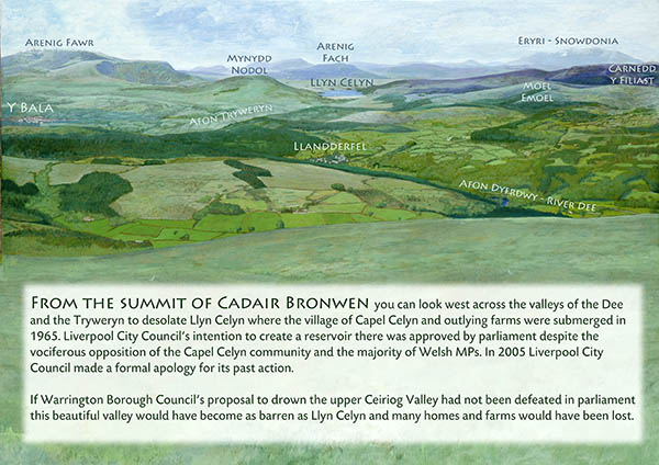 Panorama from Cadair Bronwyn. Temporary exhibition at Gwyl Berwyn / Berwyn Festival.